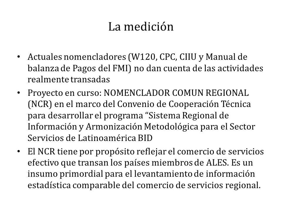 La medición Actuales nomencladores (W120, CPC, CIIU y Manual de balanza de Pagos del FMI) no dan cuenta de las actividades realmente transadas Proyecto en curso: NOMENCLADOR COMUN REGIONAL (NCR) en el marco del Convenio de Cooperación Técnica para desarrollar el programa Sistema Regional de Información y Armonización Metodológica para el Sector Servicios de Latinoamérica BID El NCR tiene por propósito reflejar el comercio de servicios efectivo que transan los países miembros de ALES.
