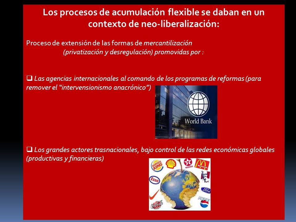 Los procesos de acumulación flexible se daban en un contexto de neo-liberalización: Proceso de extensión de las formas de mercantilización (privatizac