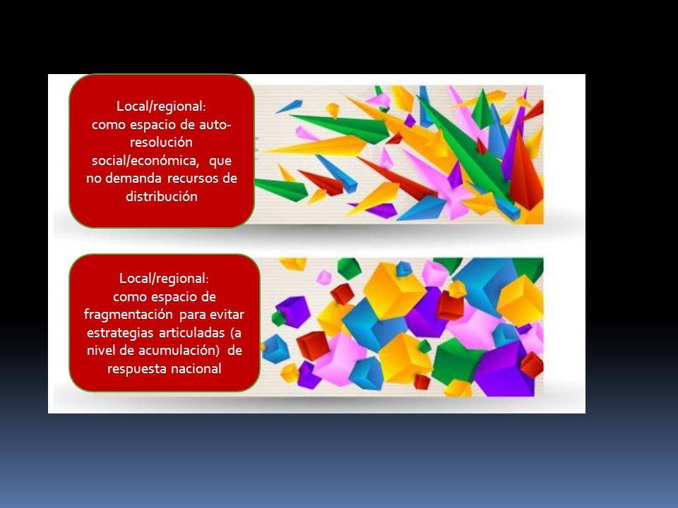 Local/regional: como espacio de auto- resolución social/económica, que no demanda recursos de distribución Local/regional: como espacio de fragmentaci