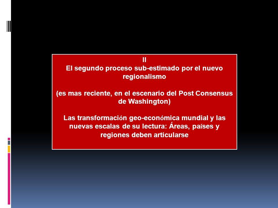 II El segundo proceso sub-estimado por el nuevo regionalismo (es mas reciente, en el escenario del Post Consensus de Washington) Las transformaci ó n