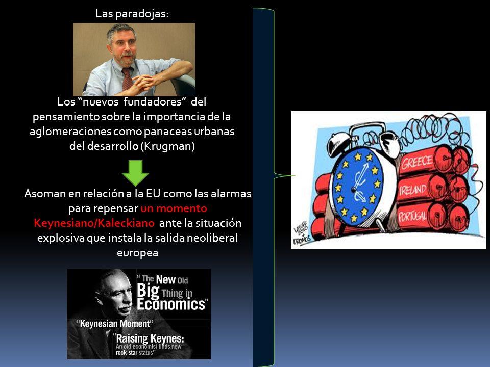 Las paradojas: Los nuevos fundadores del pensamiento sobre la importancia de la aglomeraciones como panaceas urbanas del desarrollo (Krugman) Asoman e