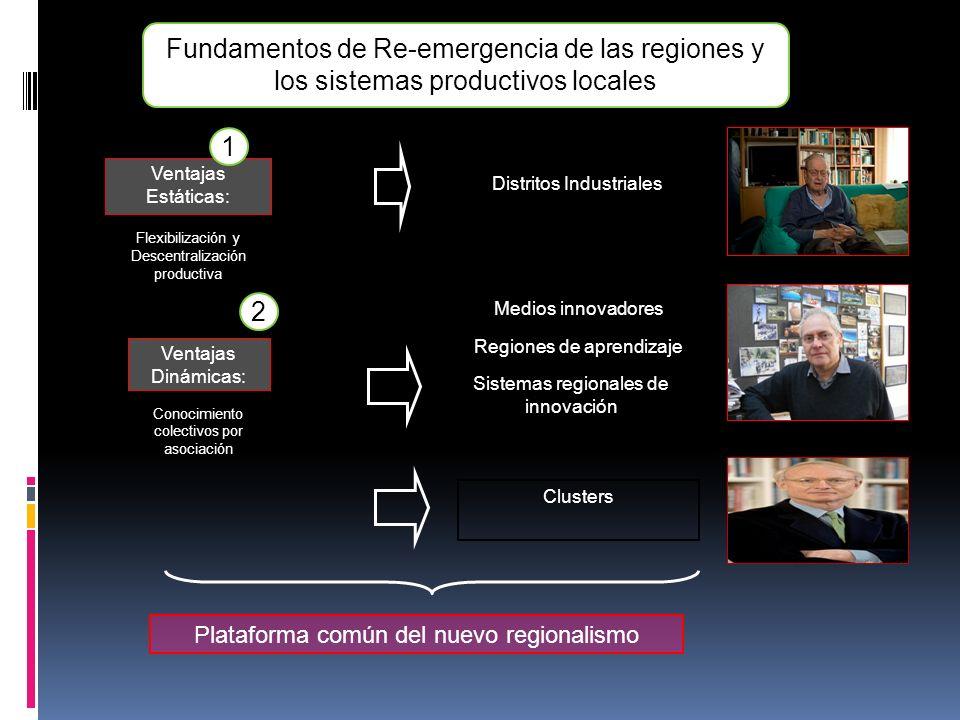 Ventajas Estáticas: Flexibilización y Descentralización productiva 1 Ventajas Dinámicas: Conocimiento colectivos por asociación 2 Fundamentos de Re-em