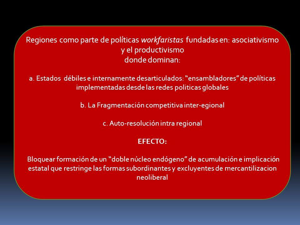 Regiones como parte de políticas workfaristas fundadas en: asociativismo y el productivismo donde dominan: a. Estados débiles e internamente desarticu