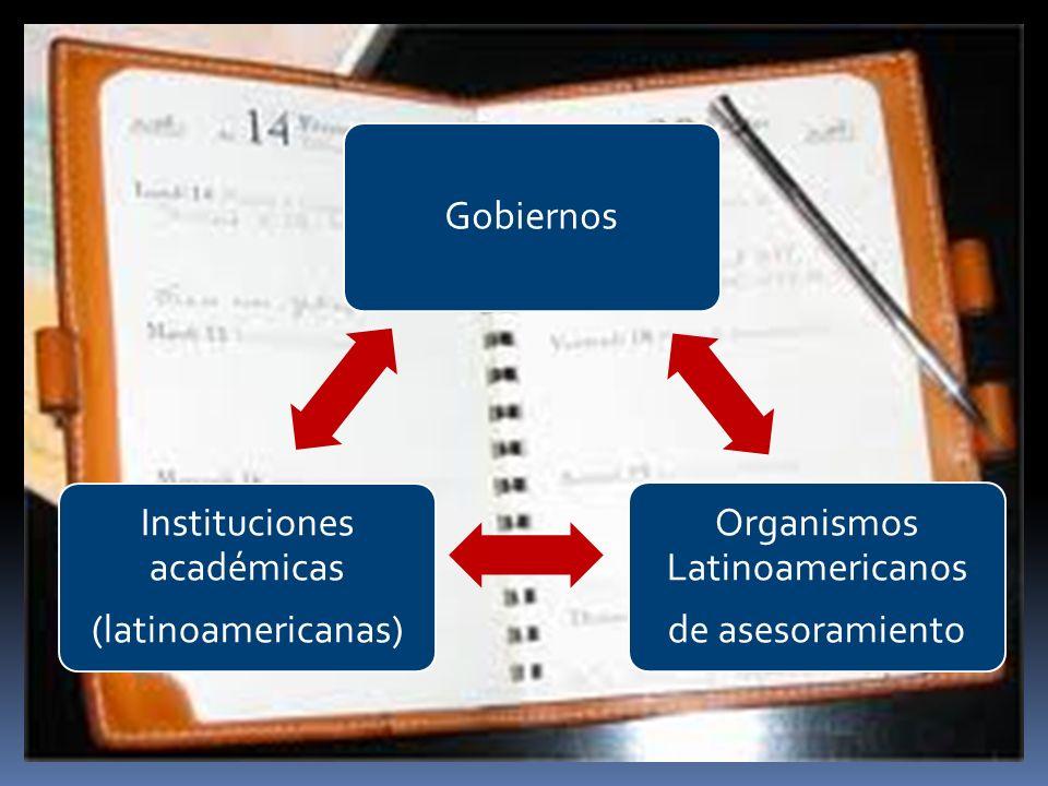 Gobiernos Organismos Latinoamericanos de asesoramiento Instituciones académicas (latinoamericanas)