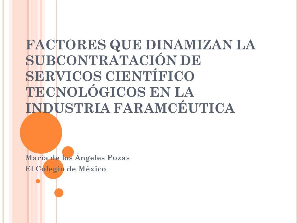 FACTORES QUE DINAMIZAN LA SUBCONTRATACIÓN DE SERVICOS CIENTÍFICO TECNOLÓGICOS EN LA INDUSTRIA FARAMCÉUTICA María de los Ángeles Pozas El Colegio de México