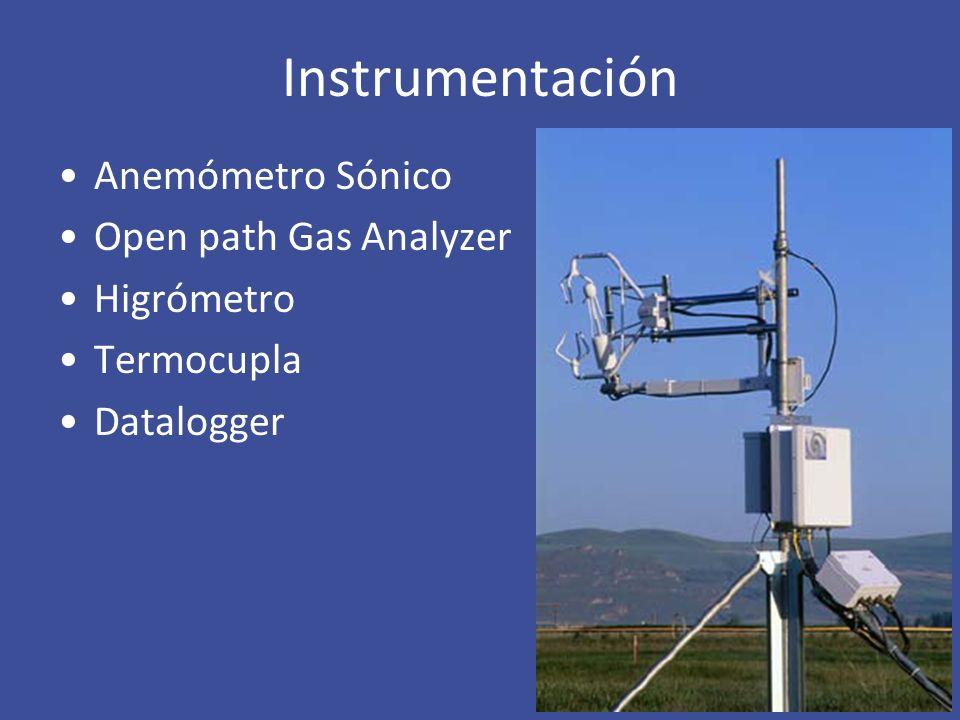 Instrumentación Anemómetro Sónico Open path Gas Analyzer Higrómetro Termocupla Datalogger