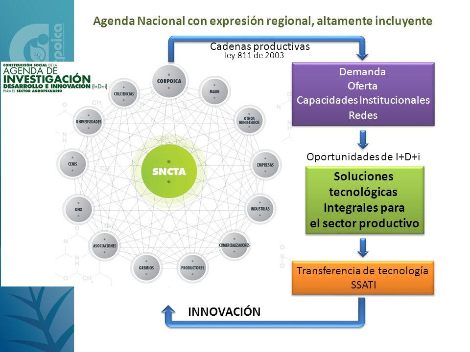 Agenda Nacional con expresión regional, altamente incluyente Demanda Oferta Capacidades Institucionales Redes Demanda Oferta Capacidades Institucional