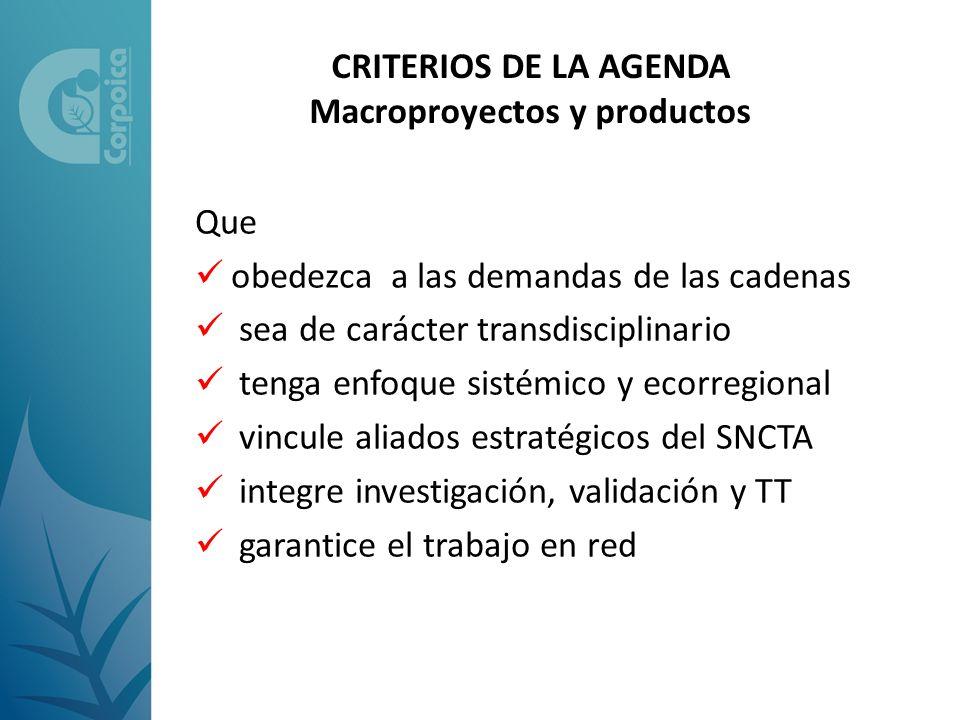 CRITERIOS DE LA AGENDA Macroproyectos y productos Que obedezca a las demandas de las cadenas sea de carácter transdisciplinario tenga enfoque sistémic