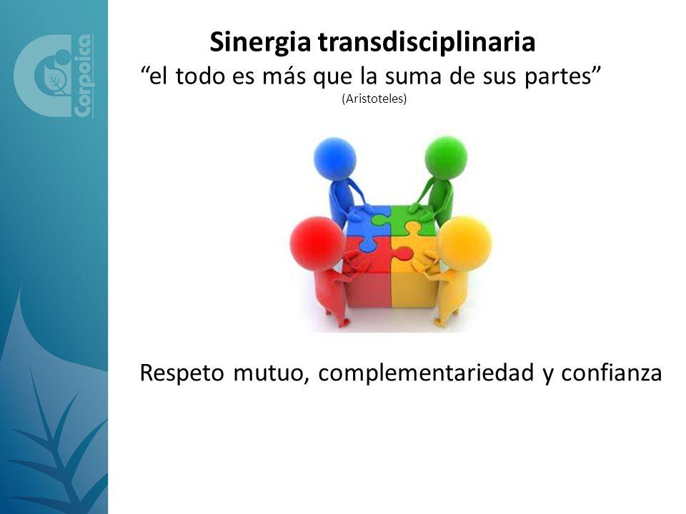 Sinergia transdisciplinaria el todo es más que la suma de sus partes (Aristoteles) Respeto mutuo, complementariedad y confianza