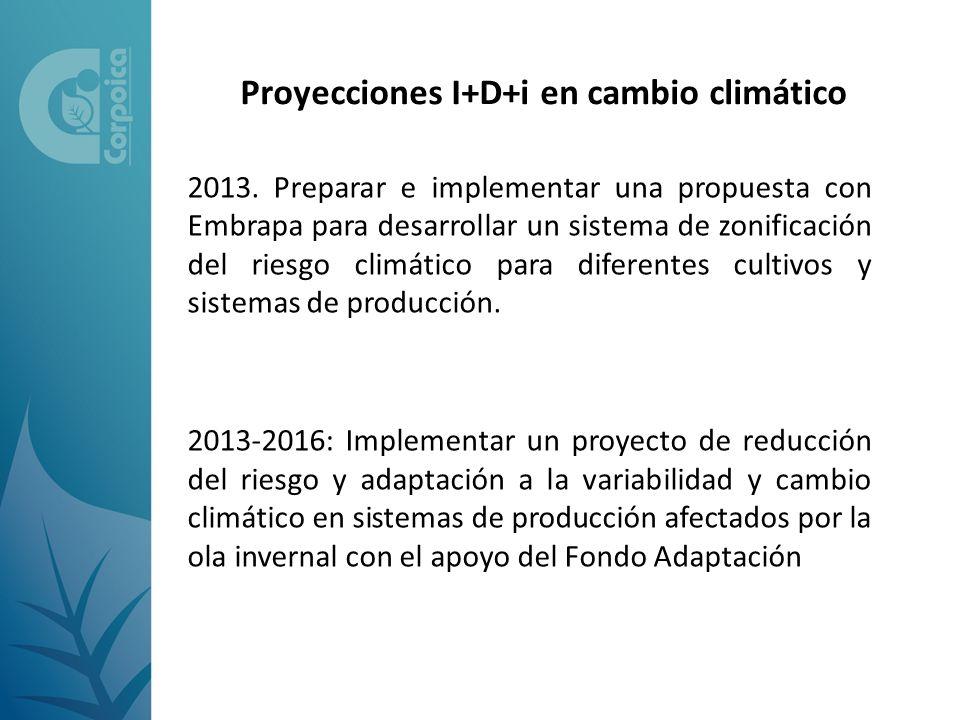 2013. Preparar e implementar una propuesta con Embrapa para desarrollar un sistema de zonificación del riesgo climático para diferentes cultivos y sis