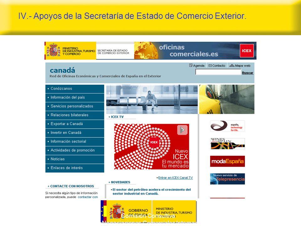 Comisión Consultiva para las Negociaciones Comerciales Internacionales 14 IV.- Apoyos de la Secretaría de Estado de Comercio Exterior.