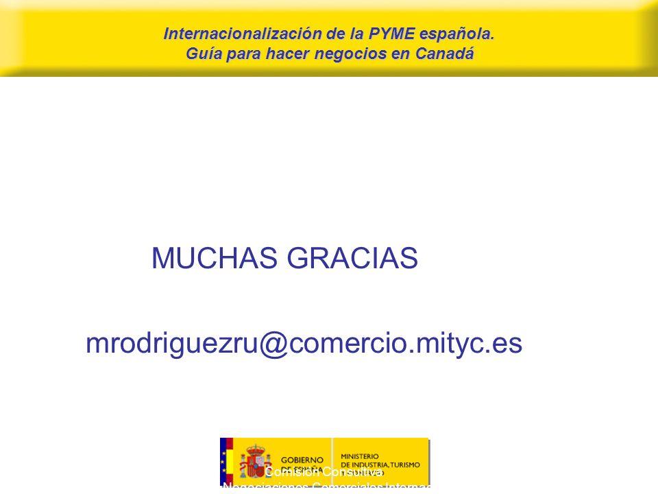 Comisión Consultiva para las Negociaciones Comerciales Internacionales 16 Internacionalización de la PYME española.