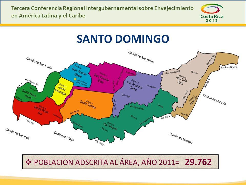SANTO DOMINGO POBLACION ADSCRITA AL ÁREA, AÑO 2011= 29.762