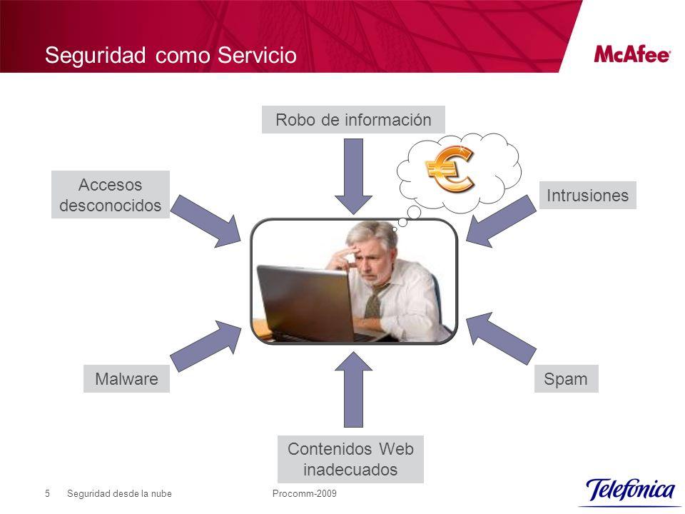 Seguridad desde la nubeProcomm-20095 Seguridad como Servicio Malware Contenidos Web inadecuados Spam Intrusiones Robo de información Accesos desconocidos