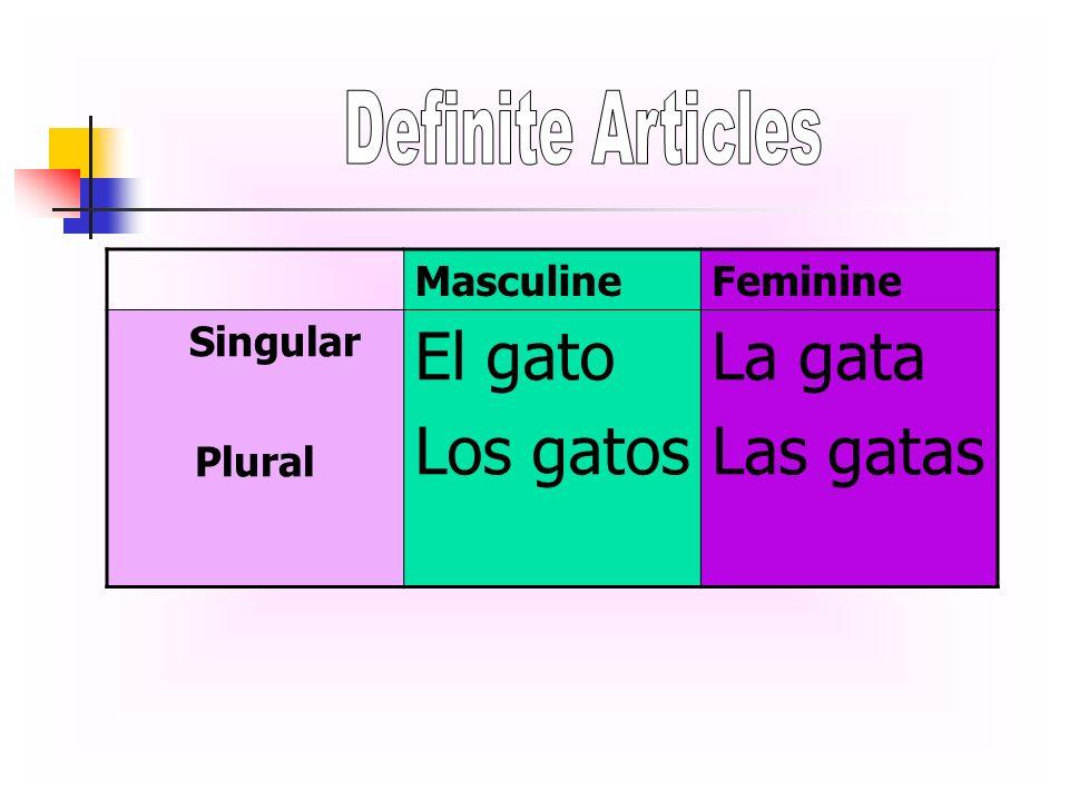 MasculineFeminine Singular Plural El gato Los gatos La gata Las gatas