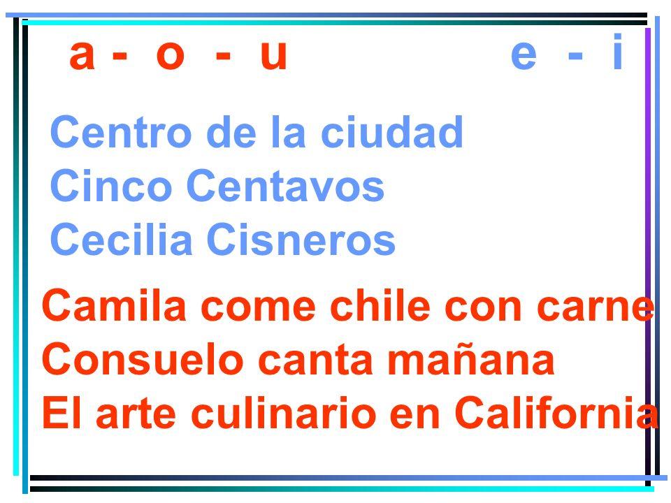 a - o - ue - i Centro de la ciudad Cinco Centavos Cecilia Cisneros Camila come chile con carne Consuelo canta mañana El arte culinario en California