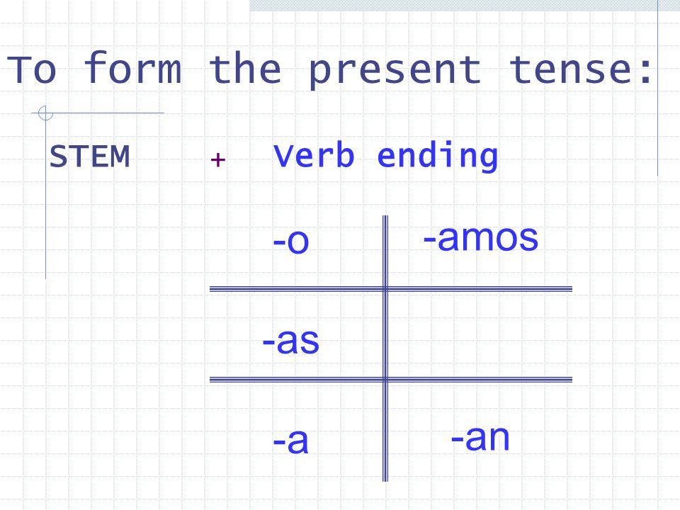 Every verb has 2 parts: Hablar habl- Practicar practic- Estudiar estudi- Trabajar trabaj- Cocinar cocin- Cantar cant- STEM+ STEM + ENDING + AR