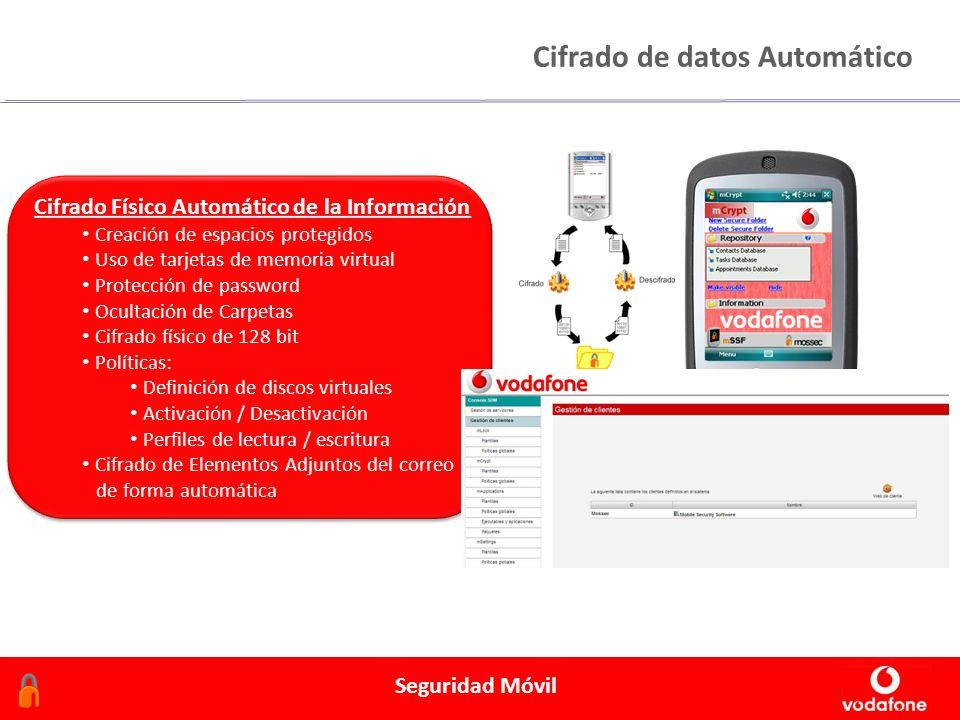 Febrero 2006 Seguridad Móvil Cifrado de datos Automático Cifrado Físico Automático de la Información Creación de espacios protegidos Uso de tarjetas de memoria virtual Protección de password Ocultación de Carpetas Cifrado físico de 128 bit Políticas: Definición de discos virtuales Activación / Desactivación Perfiles de lectura / escritura Cifrado de Elementos Adjuntos del correo de forma automática Cifrado Físico Automático de la Información Creación de espacios protegidos Uso de tarjetas de memoria virtual Protección de password Ocultación de Carpetas Cifrado físico de 128 bit Políticas: Definición de discos virtuales Activación / Desactivación Perfiles de lectura / escritura Cifrado de Elementos Adjuntos del correo de forma automática