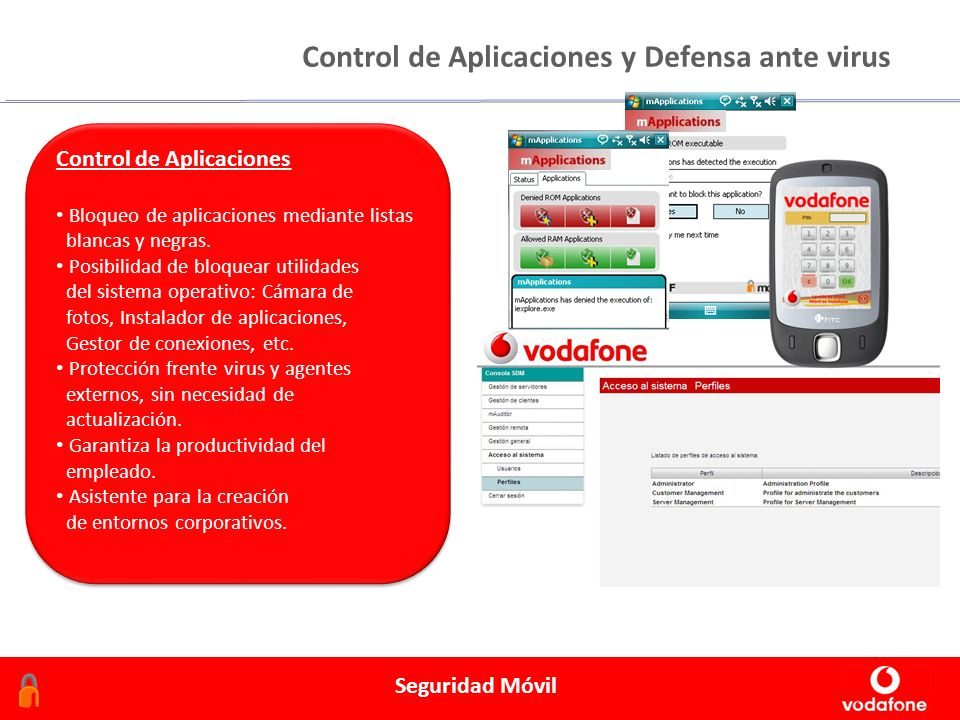 Febrero 2006 Seguridad Móvil Control de Aplicaciones y Defensa ante virus Control de Aplicaciones Bloqueo de aplicaciones mediante listas blancas y negras.