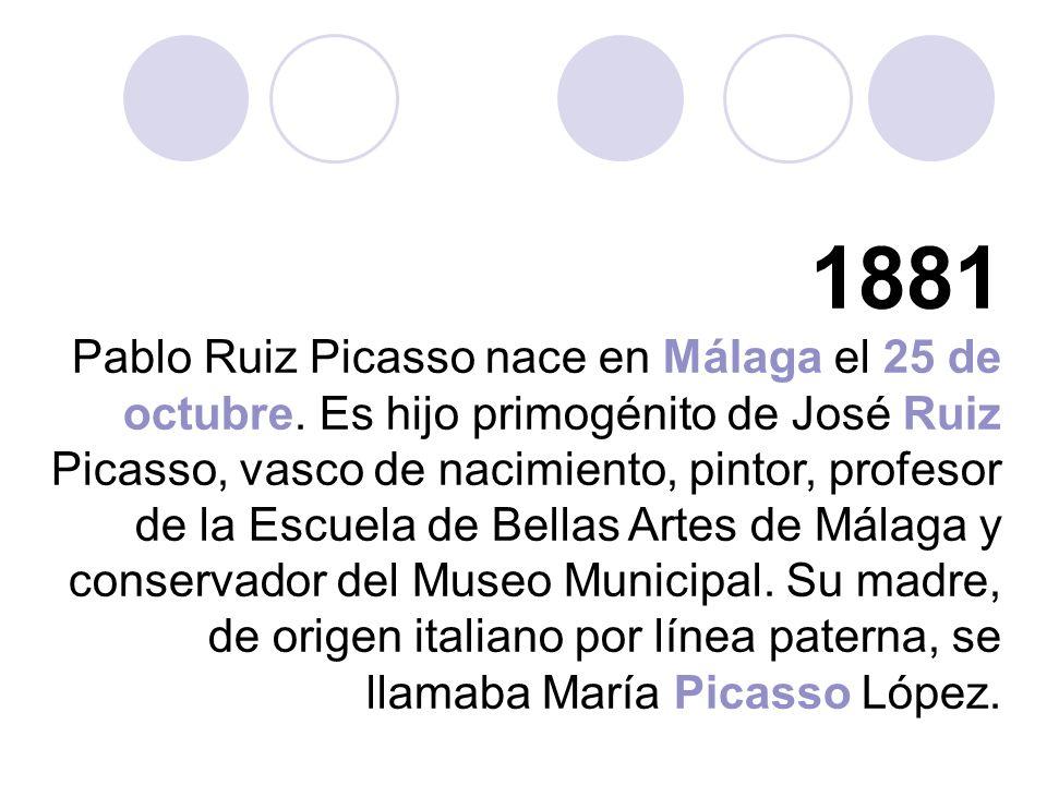 1881 Pablo Ruiz Picasso nace en Málaga el 25 de octubre.