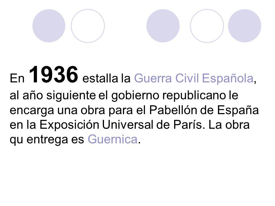 En 1936 estalla la Guerra Civil Española, al año siguiente el gobierno republicano le encarga una obra para el Pabellón de España en la Exposición Universal de París.