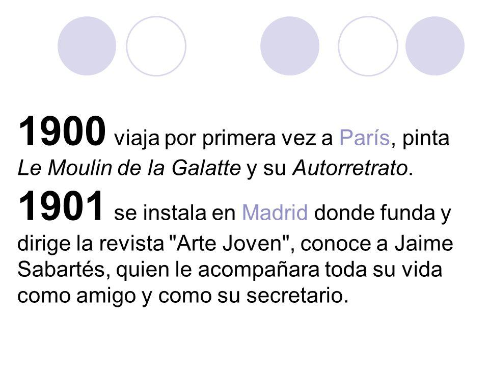 1900 viaja por primera vez a París, pinta Le Moulin de la Galatte y su Autorretrato.
