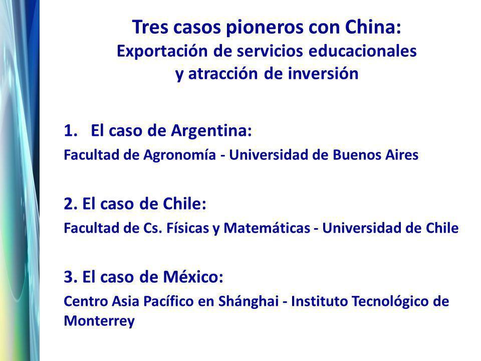 Tres casos pioneros con China: Exportación de servicios educacionales y atracción de inversión 1.El caso de Argentina: Facultad de Agronomía - Universidad de Buenos Aires 2.