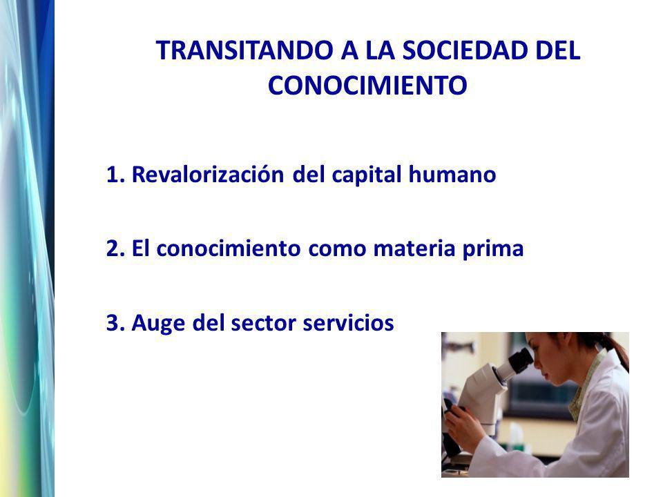 TRANSITANDO A LA SOCIEDAD DEL CONOCIMIENTO 1. Revalorización del capital humano 2.