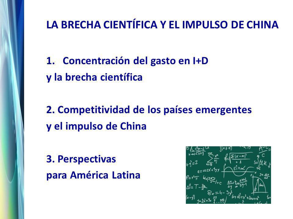 LA BRECHA CIENTÍFICA Y EL IMPULSO DE CHINA 1.Concentración del gasto en I+D y la brecha científica 2.