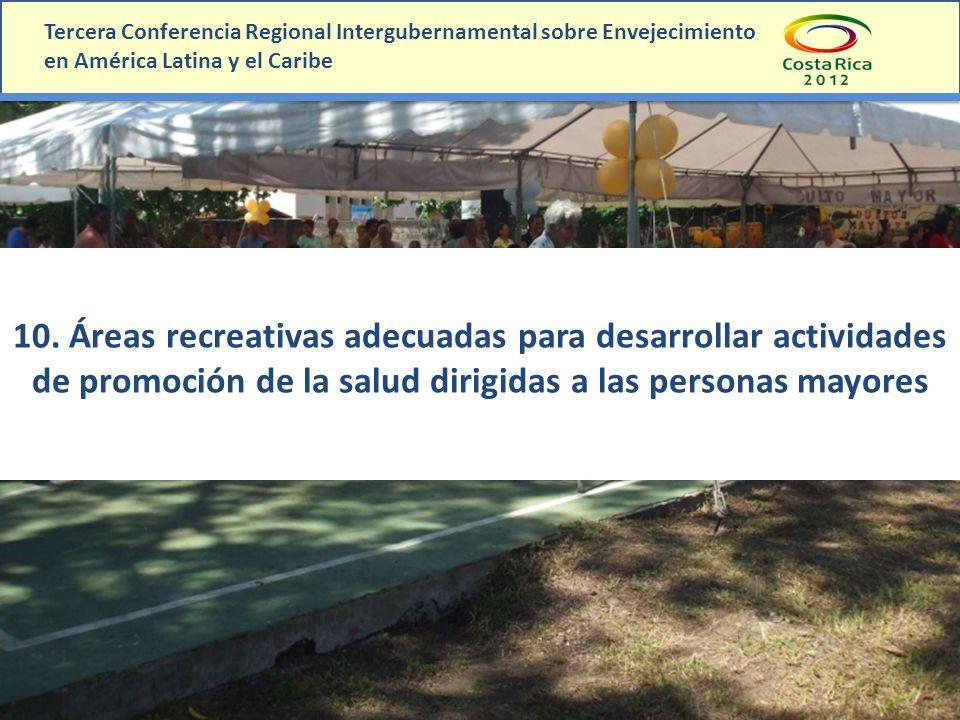 10. Áreas recreativas adecuadas para desarrollar actividades de promoción de la salud dirigidas a las personas mayores Tercera Conferencia Regional In
