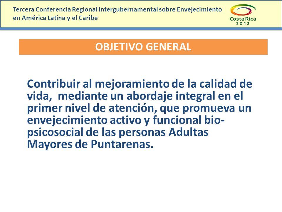 Tercera Conferencia Regional Intergubernamental sobre Envejecimiento en América Latina y el Caribe OBJETIVO GENERAL Contribuir al mejoramiento de la c