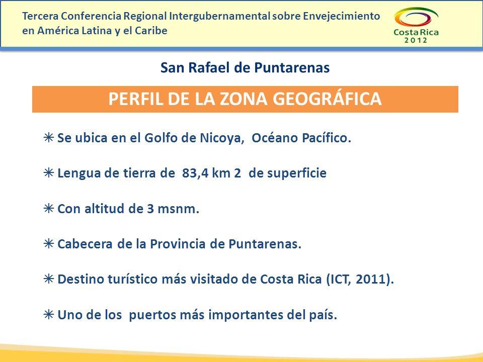 San Rafael de Puntarenas PERFIL DE LA ZONA GEOGRÁFICA Se ubica en el Golfo de Nicoya, Océano Pacífico. Lengua de tierra de 83,4 km 2 de superficie Con