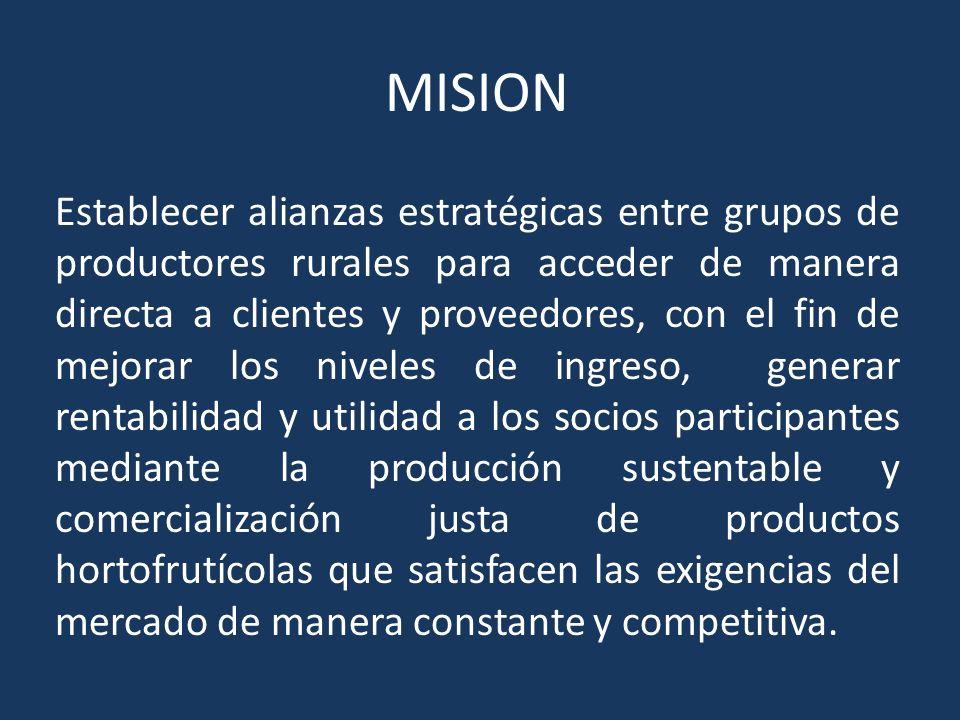 MISION Establecer alianzas estratégicas entre grupos de productores rurales para acceder de manera directa a clientes y proveedores, con el fin de mej