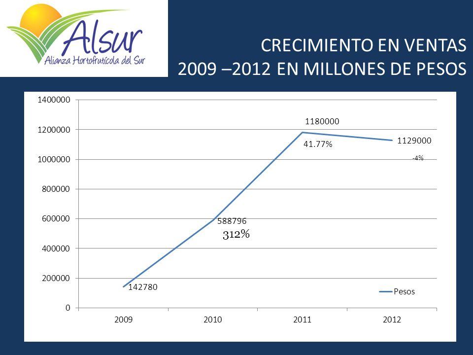CRECIMIENTO EN VENTAS 2009 –2012 EN MILLONES DE PESOS 312%