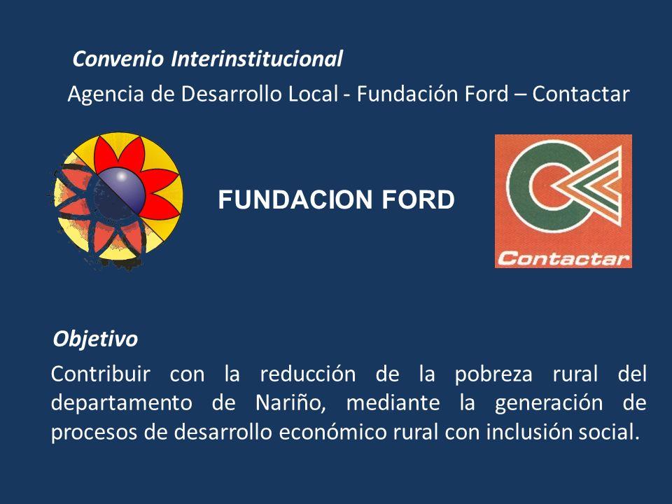 Convenio Interinstitucional Agencia de Desarrollo Local - Fundación Ford – Contactar Objetivo Contribuir con la reducción de la pobreza rural del depa