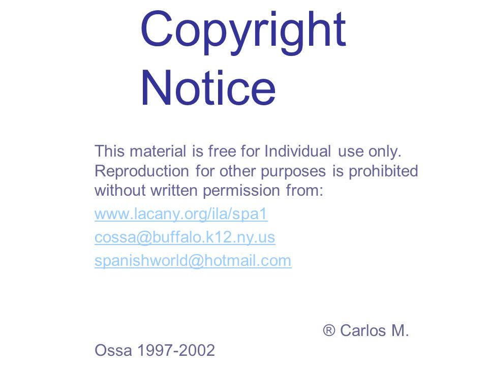 Copyright Notice This material is free for Individual use only.