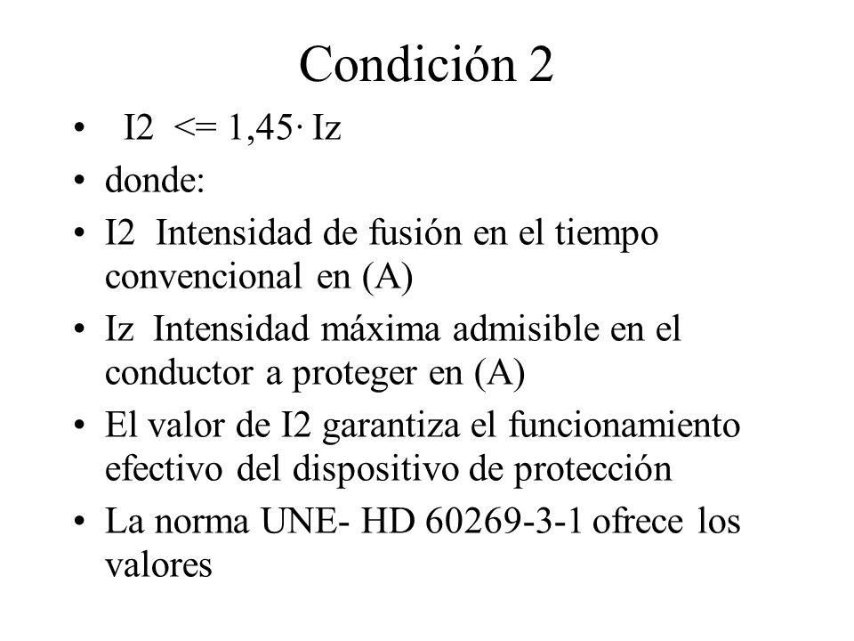 Condición 2 I2 <= 1,45· Iz donde: I2 Intensidad de fusión en el tiempo convencional en (A) Iz Intensidad máxima admisible en el conductor a proteger e