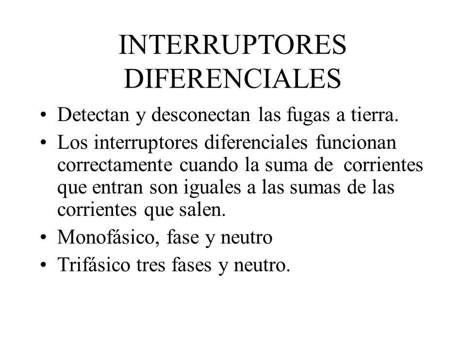 INTERRUPTORES DIFERENCIALES Detectan y desconectan las fugas a tierra. Los interruptores diferenciales funcionan correctamente cuando la suma de corri