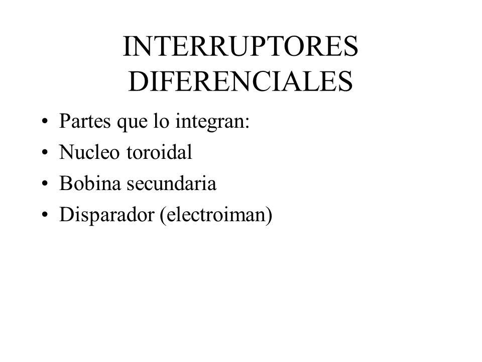 INTERRUPTORES DIFERENCIALES Partes que lo integran: Nucleo toroidal Bobina secundaria Disparador (electroiman)