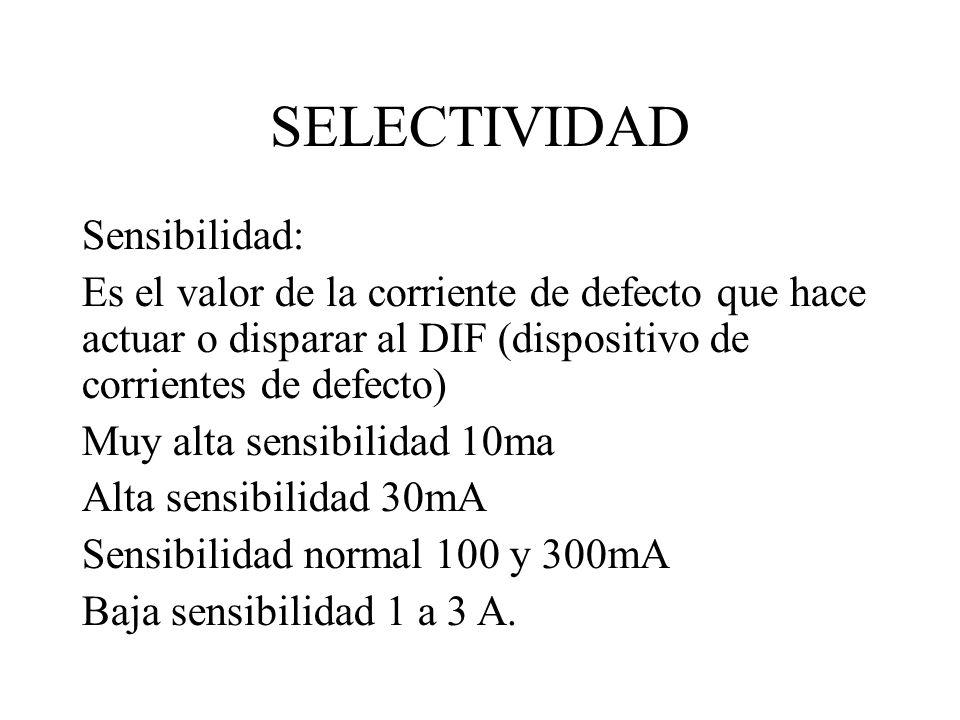 SELECTIVIDAD Sensibilidad: Es el valor de la corriente de defecto que hace actuar o disparar al DIF (dispositivo de corrientes de defecto) Muy alta se