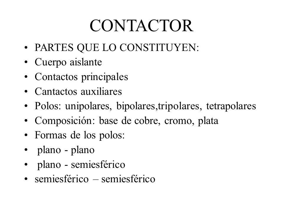 CONTACTOR PARTES QUE LO CONSTITUYEN: Cuerpo aislante Contactos principales Cantactos auxiliares Polos: unipolares, bipolares,tripolares, tetrapolares