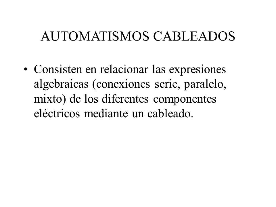 AUTOMATISMOS CABLEADOS Consisten en relacionar las expresiones algebraicas (conexiones serie, paralelo, mixto) de los diferentes componentes eléctrico