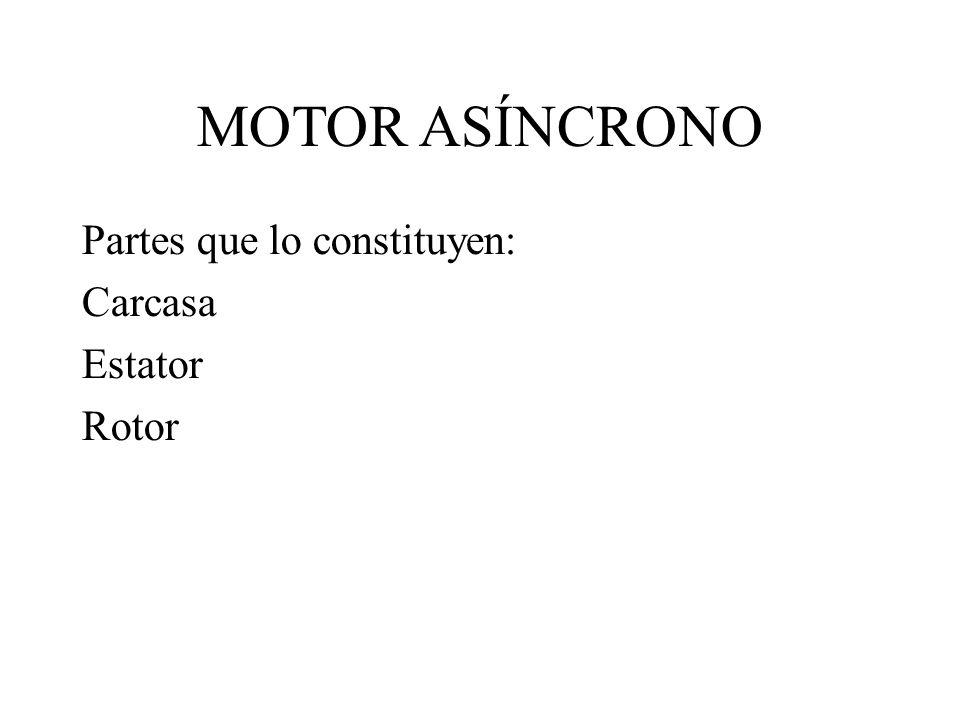 MOTOR ASÍNCRONO Partes que lo constituyen: Carcasa Estator Rotor