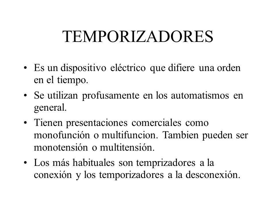 TEMPORIZADORES Es un dispositivo eléctrico que difiere una orden en el tiempo. Se utilizan profusamente en los automatismos en general. Tienen present