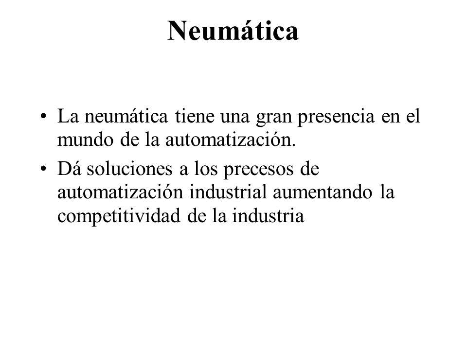Neumática La neumática tiene una gran presencia en el mundo de la automatización. Dá soluciones a los precesos de automatización industrial aumentando