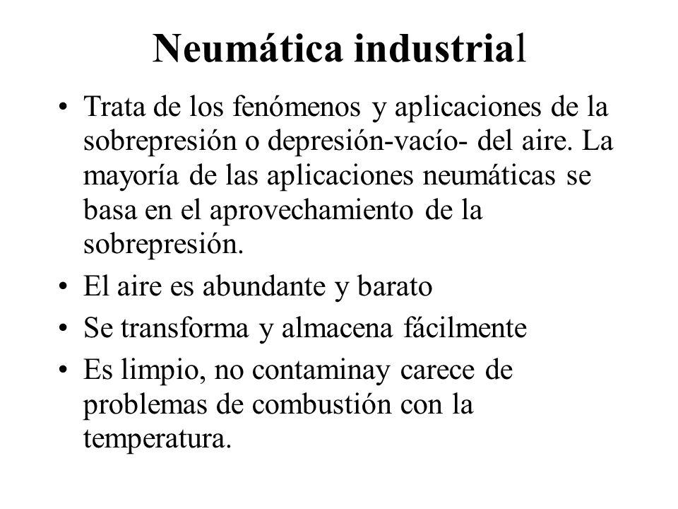 Neumática industrial Trata de los fenómenos y aplicaciones de la sobrepresión o depresión-vacío- del aire. La mayoría de las aplicaciones neumáticas s