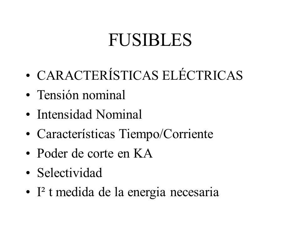 FUSIBLES CARACTERÍSTICAS ELÉCTRICAS Tensión nominal Intensidad Nominal Características Tiempo/Corriente Poder de corte en KA Selectividad I² t medida