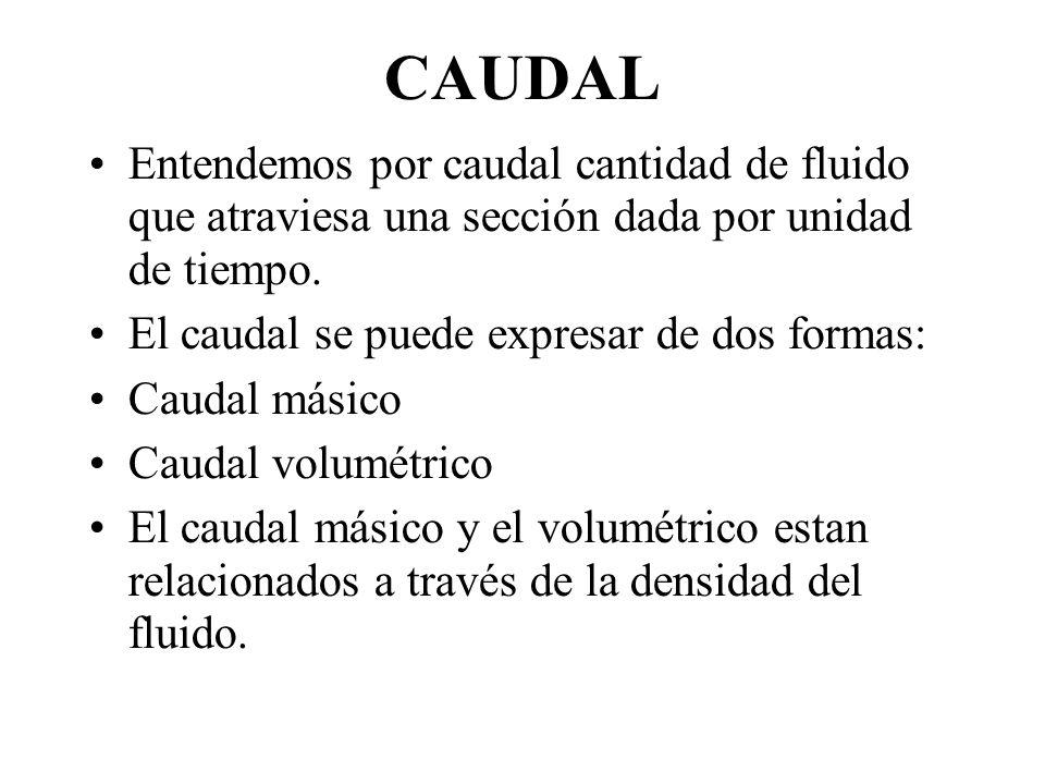 CAUDAL Entendemos por caudal cantidad de fluido que atraviesa una sección dada por unidad de tiempo. El caudal se puede expresar de dos formas: Caudal