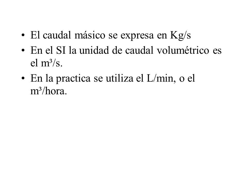 El caudal másico se expresa en Kg/s En el SI la unidad de caudal volumétrico es el m³/s. En la practica se utiliza el L/min, o el m³/hora.