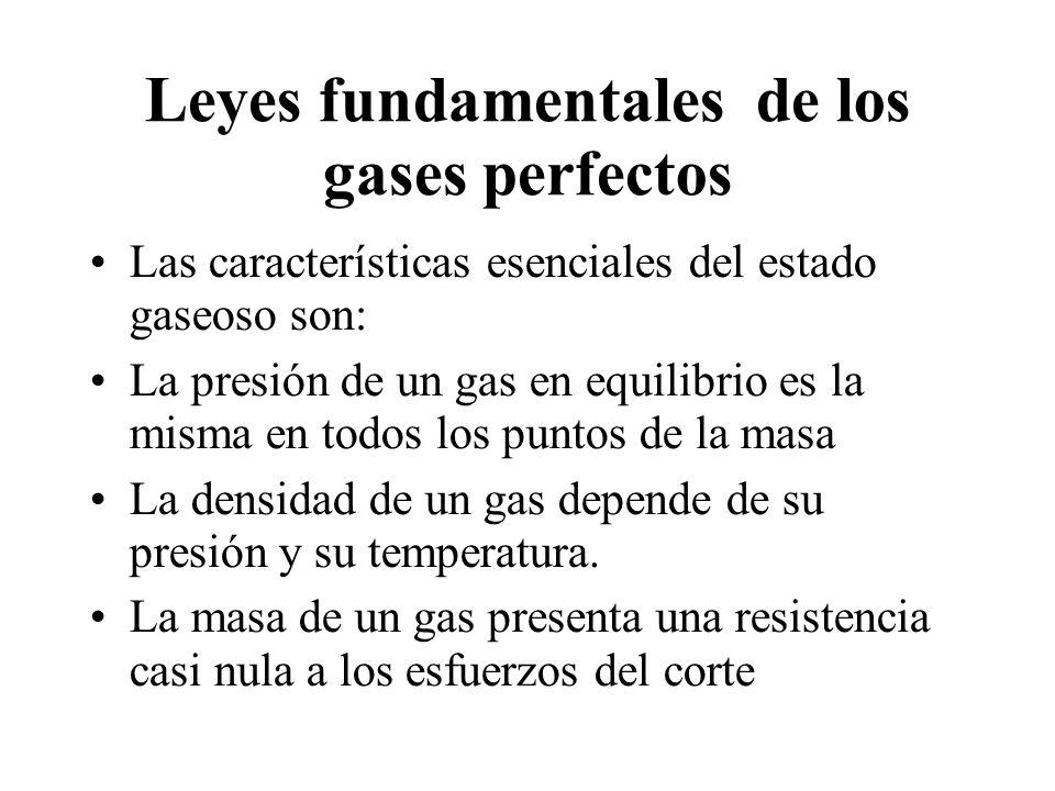 Leyes fundamentales de los gases perfectos Las características esenciales del estado gaseoso son: La presión de un gas en equilibrio es la misma en to